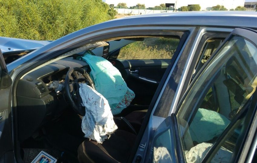 """מכוניתו של יותם וייסברג ז""""ל, שנהרג בגלל פיצוץ לא מבוקר של כרית-האוויר"""